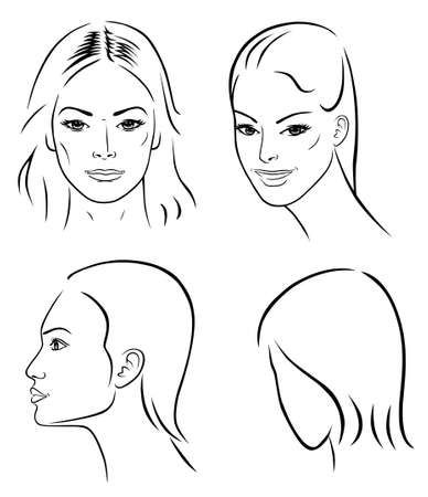 Four woman outline faces  Stock Vector - 11357630