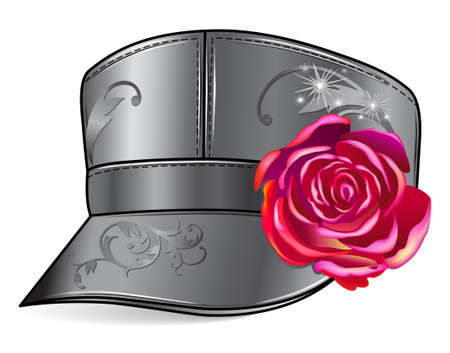leather stitch: Leather cap with rose