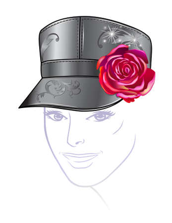 hat with visor: Leather cap with rose