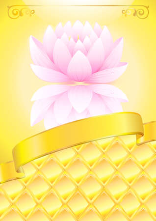 Golden background with pink lotos and bow  Vector