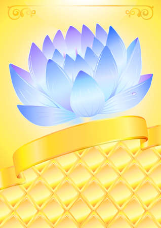 golden ribbon: Golden background with blue lotos and bow