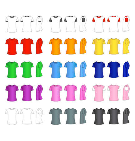tshirt design: Outline and colored t-shirt vector illustration isolated on white
