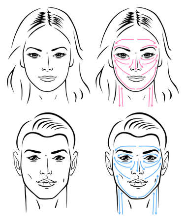 Closeup portrait of a young man and a young woman standing with facial massaging lines Vector