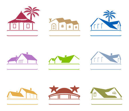 blue roof: House signs  Illustration
