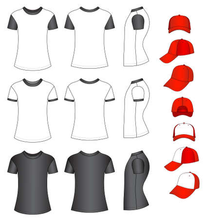 featured: Cap and shirts vector illustration featured front, back, side isolated on white