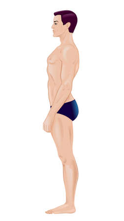 Full lenght profile of a standing naked man  Vector