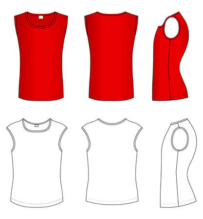 Outline red t-shirt vector illustration isolated on white  Vector