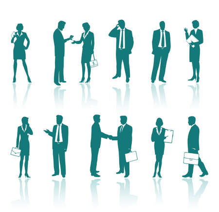 woman on cell phone: Business people silhouettes