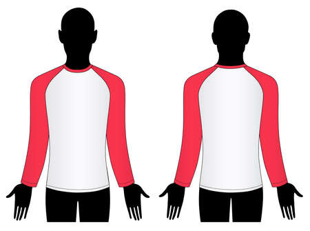 Man silhouette (front, back) with raglan sleeve t-shirt  Vector
