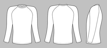 sleeves: Raglan sleeve t-shirt vector illustration isolated on white background