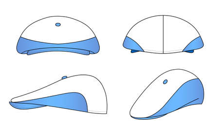 kepi: Outline kepi, cap vector illustration isolated on white