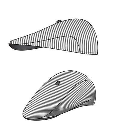 sported: Outline kepi, cap vector illustration isolated on white
