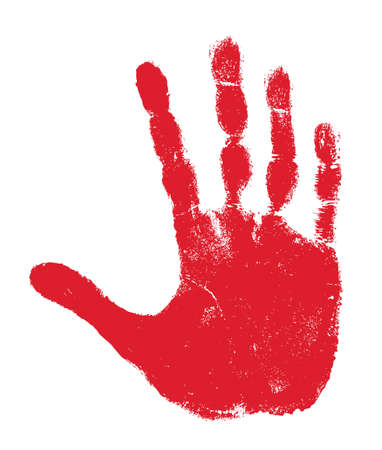 finger paint: Hand print isolated on white
