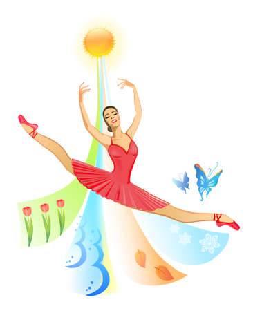 grace: Ballet dancer (woman) on nature background (four seasons of the year)