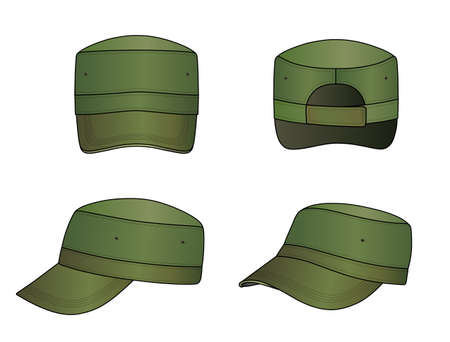 hat with visor: Green military cap vector illustration isolated on white