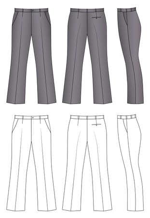 Esquema pantalones ilustración vectorial aislado en blanco