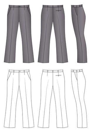 slack: Outline pants vector illustration isolated on white