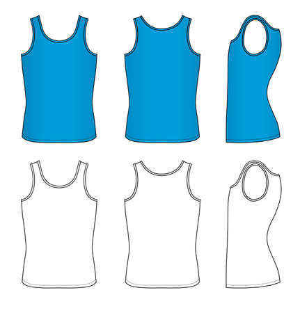 vest in isolated: Outline blue vest vector illustration isolated on white