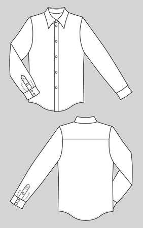 blank shirt: Outline black-white shirt vector illustration isolated on white