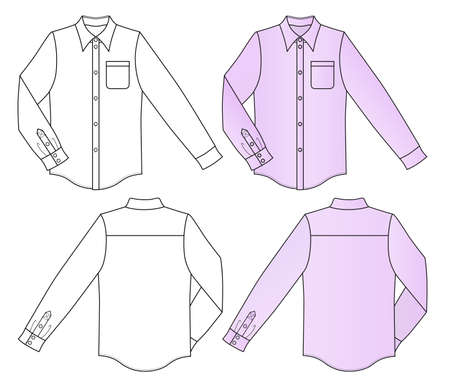 garments: Outline colored shirt vector illustration isolated on white