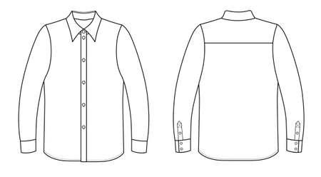 white collar: Outline black-white shirt vector illustration isolated on white