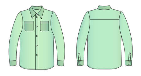 white collars: Outline colored shirt vector illustration isolated on white
