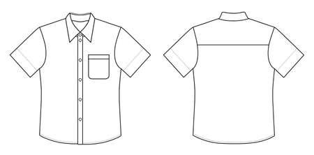 in shirt: Esquema blanco y negro ilustraci�n vectorial camisa aislado en blanco