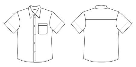 sleeved: Outline black-white shirt vector illustration isolated on white