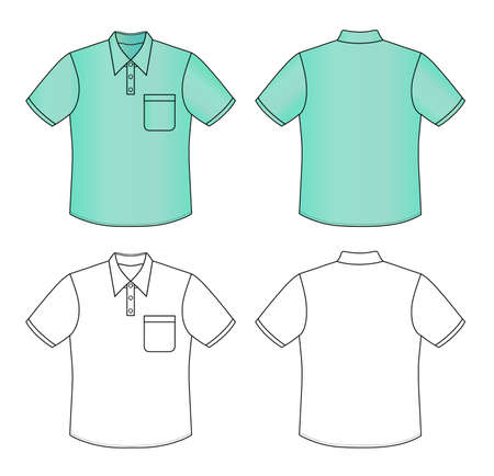 white collar: Outline polo shirt vector illustration isolated on white