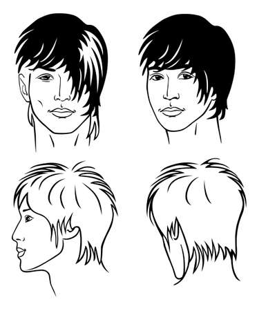 hairdo: ritratto del giovane della razza mongoloide (anteriore, posteriore, profilo)