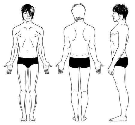 front side: Full length profile, front, back view of a standing man  Illustration