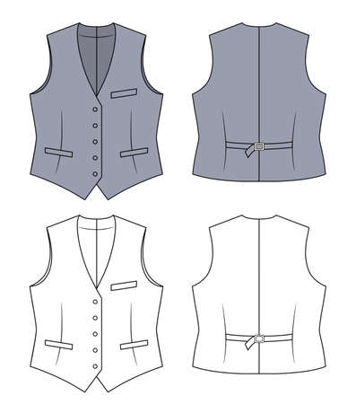vest in isolated: Woman grey waistcoat