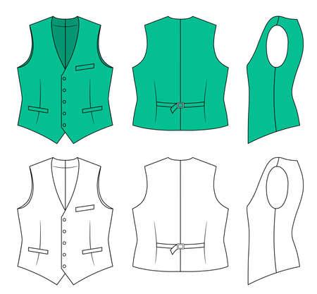 vest in isolated: Man green waistcoat