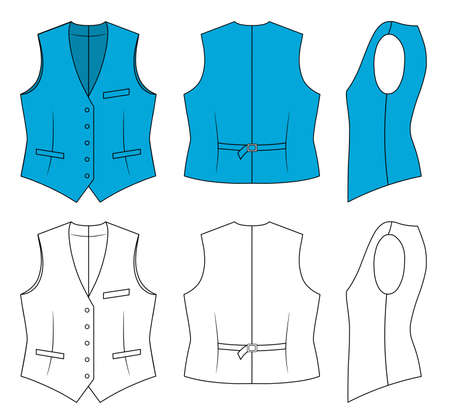 vest in isolated: Woman blue waistcoat