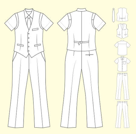 unisex: The suit of the cashier or seller (waistcoat, shirt, tie, trousers) isolated on white Illustration