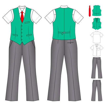 waistcoat: The suit of the cashier or seller (waistcoat, shirt, tie, trousers) isolated on white Illustration