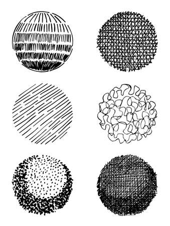 stroked: Artistic hand-drawn spheres isolated on white background