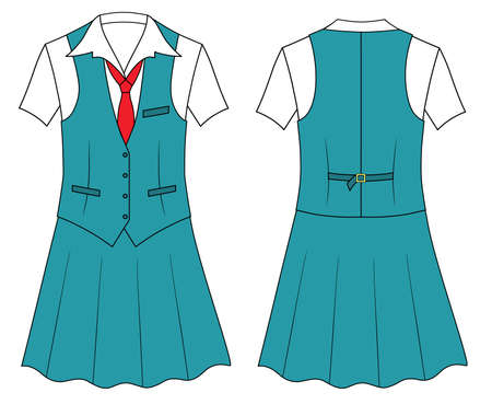skirt suit: Woman cashier or seller clothes Illustration