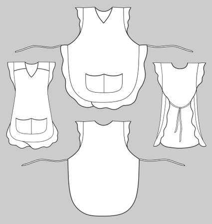 back belt: Woman apron with frills and pockets