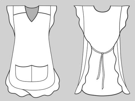 Woman apron with frills and pockets Vector