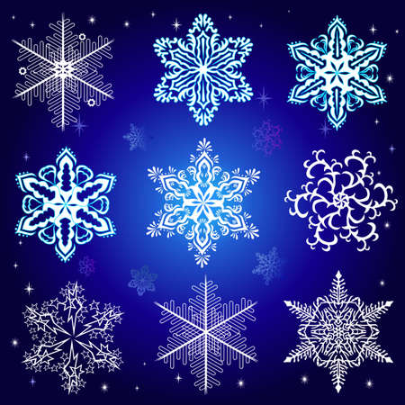snow crystals: Set of snowflakes Illustration