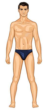 hombre desnudo: Hombre de pie, desnuda Vectores