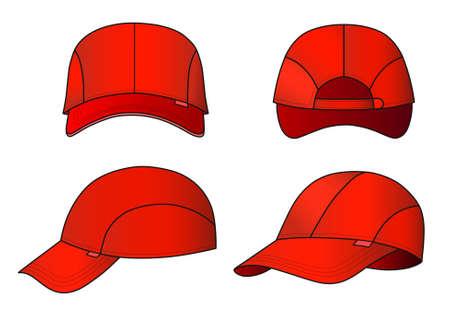 head wear: Illustrazione vettoriale Cap caratterizzato anteriore, posteriore, lato Vettoriali