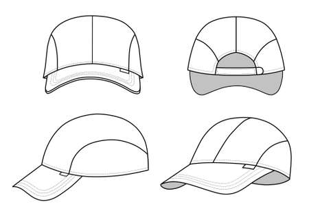 back of head: Cap vector illustration featured front, back, side, isolated on background