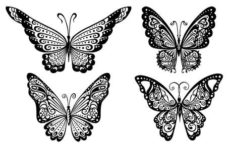 Artistic pattern with butterflies, suitable for a tattoo  Illustration