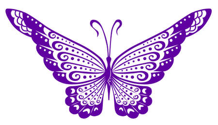 Artistic pattern with butterfly, suitable for a tattoo  Vector
