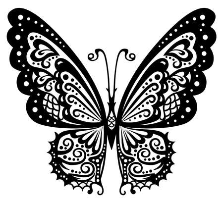tattoo butterfly: Artistic pattern with butterfly, suitable for a tattoo