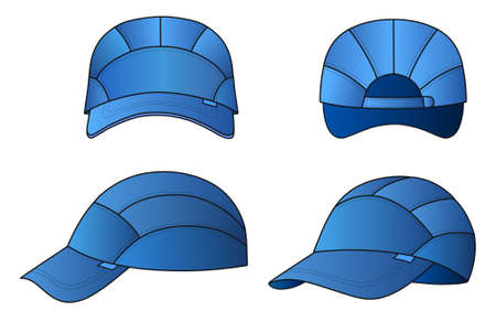featured: Cap vector illustration featured front, back, side, isolated on background