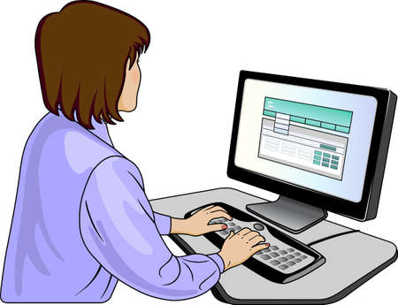 looking at computer screen: Woman-programmer near computer