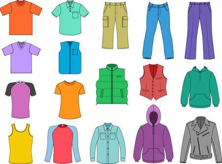 Colección de ropa de hombre de color en blanco isolalated